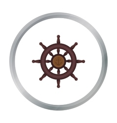 Wooden ship steering wheel icon in cartoon style vector