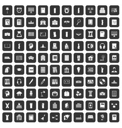 100 library icons set black vector