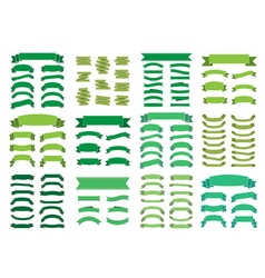 Green banners big set beautiful blank decoration vector