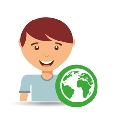 Happy boy globe environment sign vector