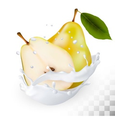 Ripe yellow pears in a milk splash on a vector