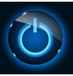 Glass power button icon on abstract background vector