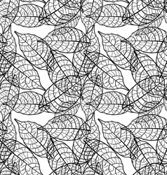 Seamless out line leaves background vector