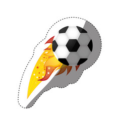 sticker colorful olympic flame with soccer ball vector image