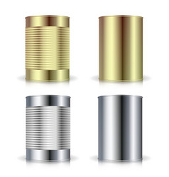 Metallic cans  realistic empty product vector