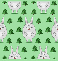 pattern with cute rabbits in firs forrest vector image