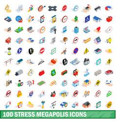 100 stress megapolis icons set isometric 3d style vector image