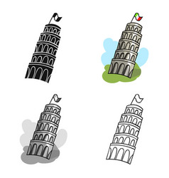 Tower of pisa in italy icon in cartoon style vector