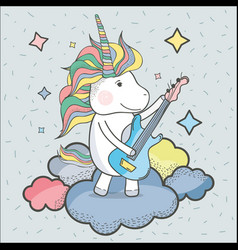 Beautiful unicorn play guitar instrument vector