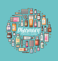 Pharmacy pharmacology banner medical supplies vector