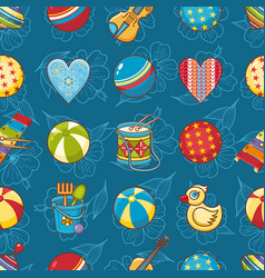 Seamless pattern baby toy cartoon style abstract vector