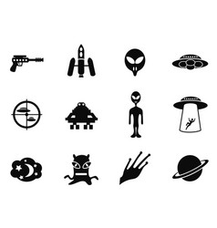 alien and ufo icons set vector image