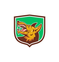 Angry wild dog fangs side shield retro vector