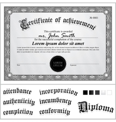 Black and white certificate template horizontal vector