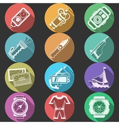 Scuba equipment flat color icons vector