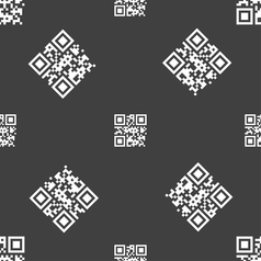 Qr code icon sign seamless pattern on a gray vector