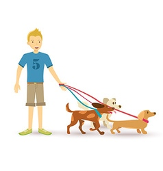 Happy teen walking with dog pet flat vector