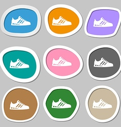 Sneakers symbols multicolored paper stickers vector