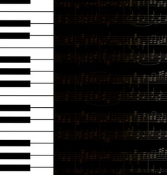 Music background with keyboard and stave notes vector