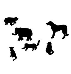 Silhouettes of different animals vector
