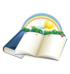 A storybook with a rainbow and plants vector image vector image