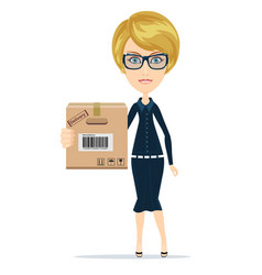 a young beautiful caucasian woman holding a box in vector image