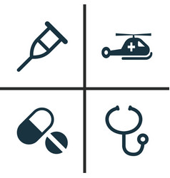 Antibiotic icons set collection of review stand vector