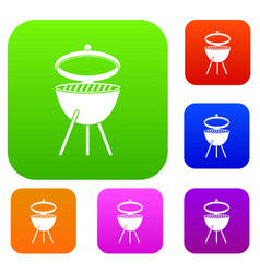 Barbecue set color collection vector