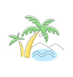 Beach mountain and palm trees vector