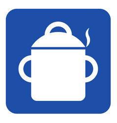 blue white sign - cooking pot with smoke icon vector image vector image