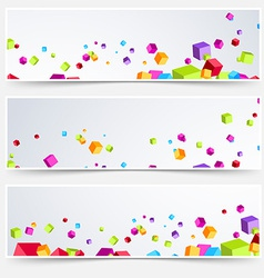 Bright cube web header footer set vector