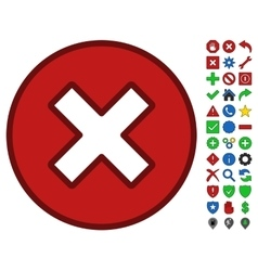 Cancel symbol with toolbar icon set vector