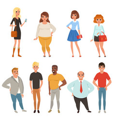 Cartoon collection of young and adult people in vector