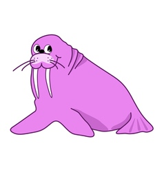 Cartoon pink walrus cute character vector