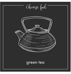 Chinese green tea pot chalk sketch for china asian vector