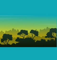 collection stock landscape jungle silhouettes vector image vector image