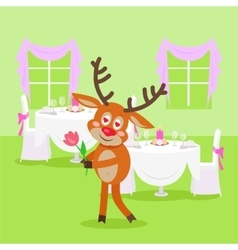 Deer lover isolated in restaurant on background vector