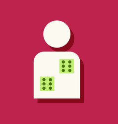 Flat icon design collection dice in man vector