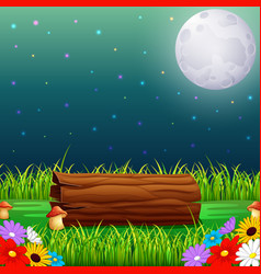 Forest at night and wood with fullmoon vector