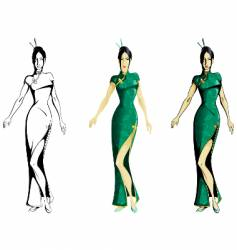 girl wearing cheongsam vector image