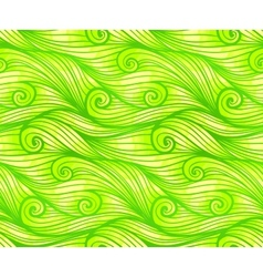 Green curled waves seamless pattern vector image vector image
