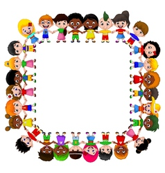 Happy children different races vector