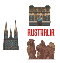 Historic architecture and sightseings of australia vector