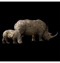 Low poly rhino with baby vector