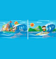 many children sailing at sea vector image vector image