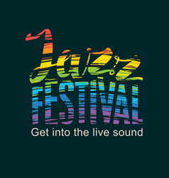 poster for jazz festival with rainbow colors text vector image vector image