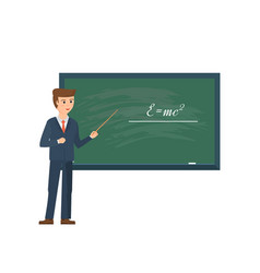professor standing in front of school blackboard vector image