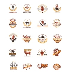 Set grill and barbecue badges stickers emblems vector image vector image