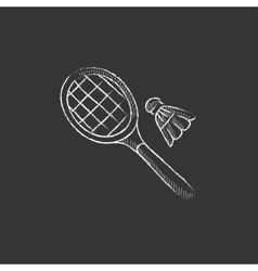 Shuttlecock and badminton racket drawn in chalk vector
