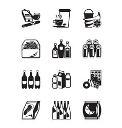 small grocery store icon set vector image